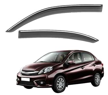 Picture of GFX Car Window Door Wind Visor with Silver Chrome Line for Honda Amaze 2013-2018