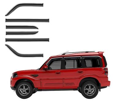 Picture of GFX Car Window Door Wind Visor with Silver Chrome Line for Mahindra Scorpio 2009 Onwards (6 Pcs)