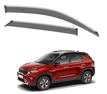 Picture of GFX Car Window Door Wind Visor with Silver Chrome Line for Kia Sonet 2020
