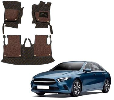 Picture of 7D Luxury Custom Fitted Car Mats For Mercedes A-Class Limousine 2021 - Black Tan