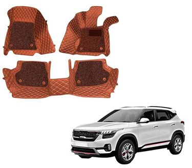 Picture of ULS 7D Economy Custom Fitted Car Mats For KIA Seltos 2019 - Tan