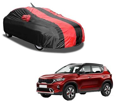 Picture of Aril Stylish Red Stripe Car Body Cover For KIA Sonet 2020 with mirror pocket & Antenna Pocket