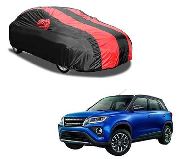 Picture of Aril Stylish Red Stripe Car Body Cover For Toyota Urban Cruzer 2020 with mirror pocket