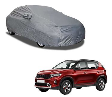 Picture of Aril Matty Grey Car Body Cover For KIA Sonet 2020 with mirror pocket