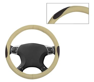 Picture of Leatherite Car Steering Cover For All Cars - Russet Cream