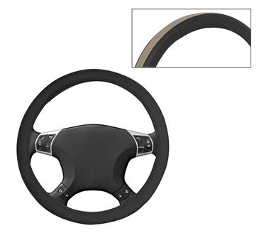 Picture of Leatherite Car Steering Cover For All Cars - Fawn Black