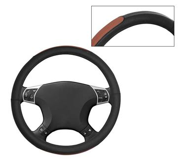 Picture of Leatherite Car Steering Cover For All Cars - Tan Black
