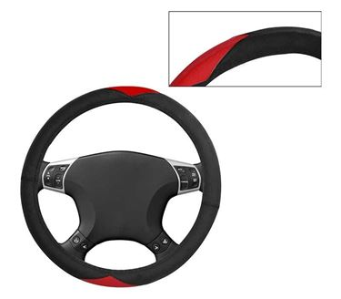 Picture of Leatherite Car Steering Cover For All Cars - Red Black
